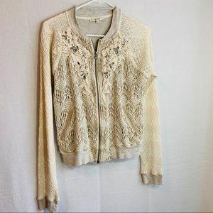 Miss me full zip sweater blouse